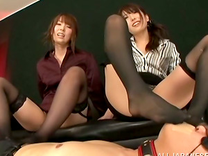 Pegging and Foot worship Act in Japanese FFM Female dom Threesome