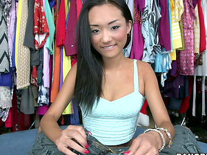 Alina Li likes sucking a jizz-shotgun in a shop and gets a mouthhole of jism