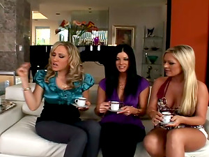 Three sexy chicks suck a dick and get rammed in CFNM movie