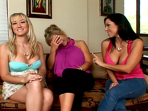 Three salacious chicks have fun with a shaft and rail it