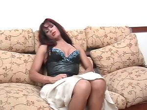 Gorgeous shemale whoops her man sausage out in solo