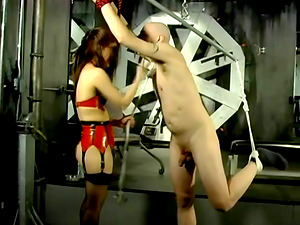 Superior Lady in Spandex Underwear Plays with Man's Penis in Female dom