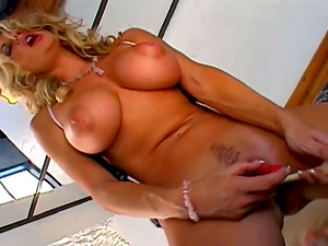 Massive tittied Vicky Vette fondles her tits and playthings the vulva
