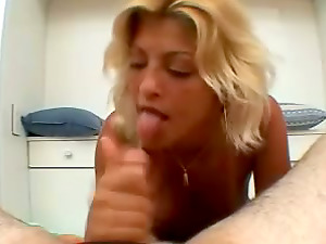Jizz in Mouth and Face for Unexperienced Penis Sucker with Sunburn Lines