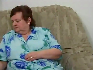Big-titted BBW Granny Caught Wanking By Her Neighbor Stud