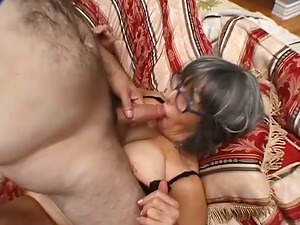 Horny Granny Pounded Hard by Son-in-law's Horny Bald Friend