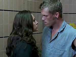 Pretty Gracie Glam Gets Facialized after Getting Fucked in the Restroom