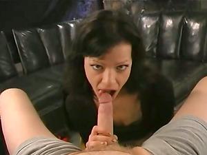 Bitchy Josie James bj's massive dick standing on her knees