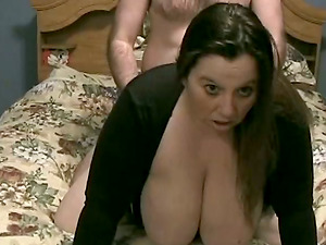 Huge-breasted mummy gets her caboose toyed and fucked rear end style