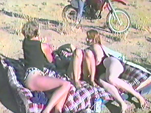 Two couples have wild group hookup outdoors in retro movie