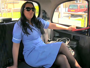 Dark-haired bitch fucks a cab driver and gets jism on her face