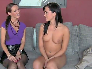 Pretty dark haired chick has lezzy fucky-fucky with an interviewer
