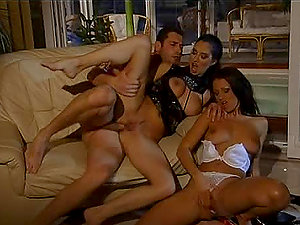 Brunettes Lara Stevens and Tera Bond in Hot Threeway with Ass-fuck Act