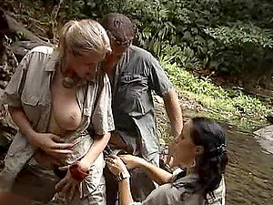Anal invasion Threesome in a Jungle Stream with Jane Darling and Laura Lion
