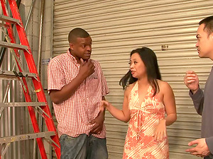 Lucky Starr gets her Asian fuck-holes fucked hard by a black stud