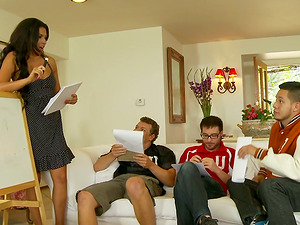 Slender Danica Dillon gets banged by three students