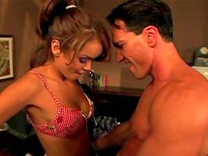 Honey in Super-cute Hooter-sling Gets Down on her Knees for Serious Oral job Act