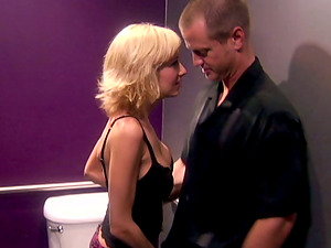Blonde With Big Tits Fucked Hard In A Wc By A Lucky Dude