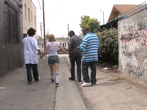 Sexy Blonde Gets Assfuck Fucked By A few Wild Black Fellows