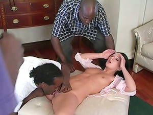 Uber-cute Black-haired Renee Gets Group-fucked By Few Big Black Peckers