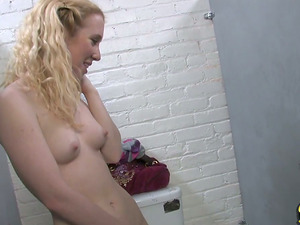 Blonde Gets Frigged and Fucked in an Interracial Gloryhole