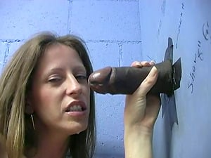Milky Nymph in Underpants Works a Big Black Manstick in a Gloryhole