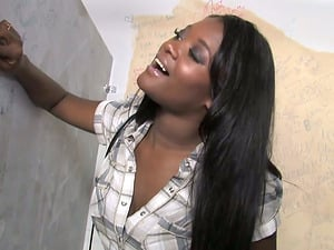 Black bitch Lux Have fun takes a gloryhole weiner in her vulva and mouth
