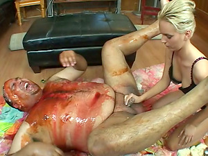 Messy Fellow Covered in Food Gets a Fellatio and Handjob