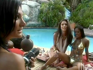 Three exotic honeys are going g/g by the pool
