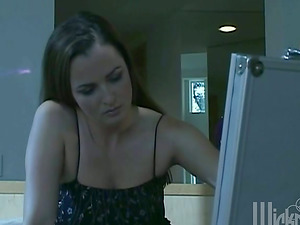 Pretty Dark-haired In Black Negligee Frigs And Fucktoys Her Snatch