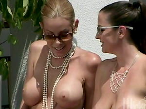 Two Girl-on-girl Stunners Frolicking their Cock-squeezing Shaven Beavers