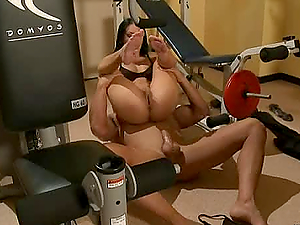 Blonde and Dark-haired Vixens Dual Penetrated in Gym Fourway