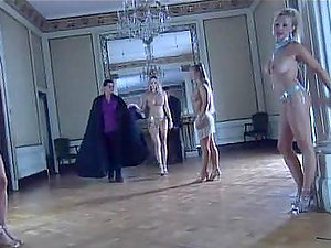 Four horny honeys have joy with two guys in the castle