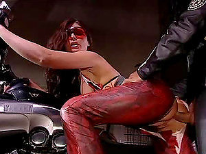 Motorcycle honeys love being fucked in a rough way with arms tyed up