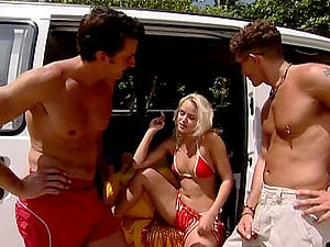 MMF Double penetration Threesome at the Beach with Blonde Beauty Sandy Style