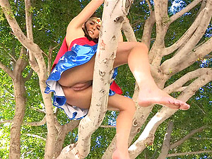 Alannah flashes her tits and smoothly-shaven beaver in a park