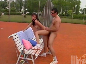 Petite brown-haired chick gets fucked outdoors after playing tennis