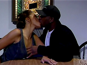Petite dark-hued is loving a gonzo buttfuck with a black man