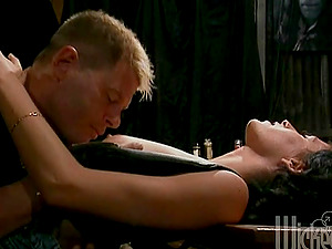 Smoking hot dark haired gets laid on the bar