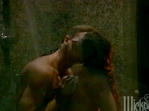 Retro flick with a horny dark haired fucking in a bathroom