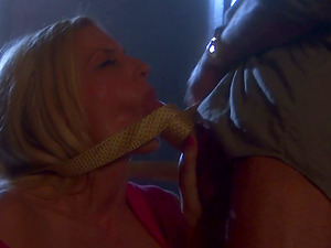 Blonde Gives a Suck off and Tit banging in the Back Room