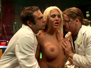 Michelle Mclaren has Giant Tits and Brilliant Skin! She Gets Double penetration Fucked by Two Dudes in All her Slots!