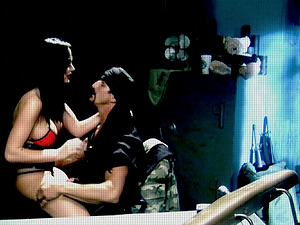 Dark-haired in a corset gets donk fucked in close-up scenes
