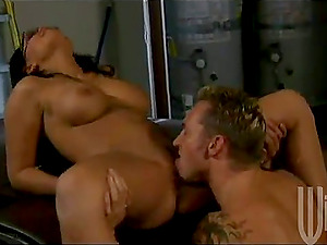 Curvy Eva Angelina gets fucked on a car fetish mask by a muscled dude