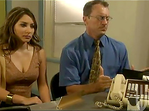 Stunning biz lady gets banged on her office table