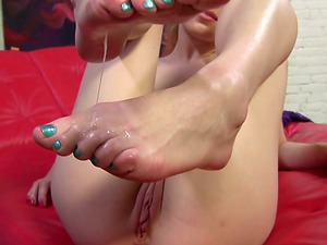 Long-legged Milky Nymphs with a Foot worship Takes a Toe Jizz shot