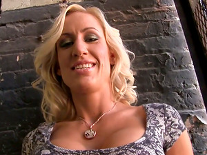 Blonde Takes a Blast of Jizz on Her Faux Tits