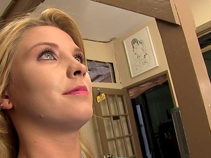 Behind the Scenes Flick of a Blonde Sex industry star Backstage