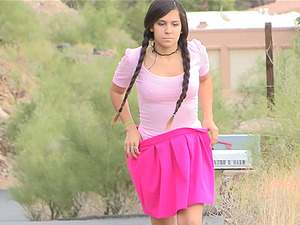 First-timer Dark-haired With Ponytails Models Solo Outdoors