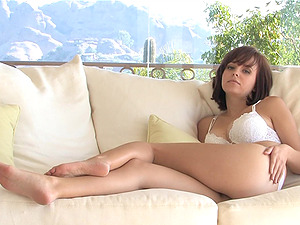 Nice Hayden poses in a lace underwear and masturbates